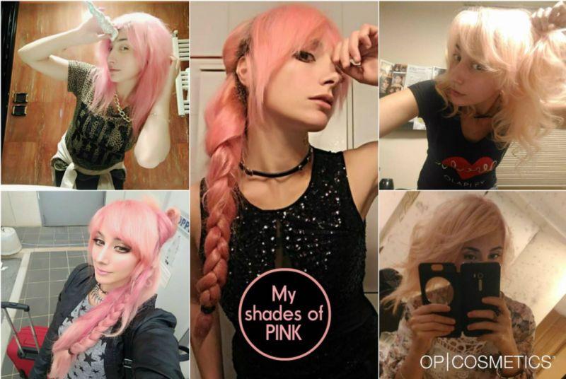 Collage capelli rosa