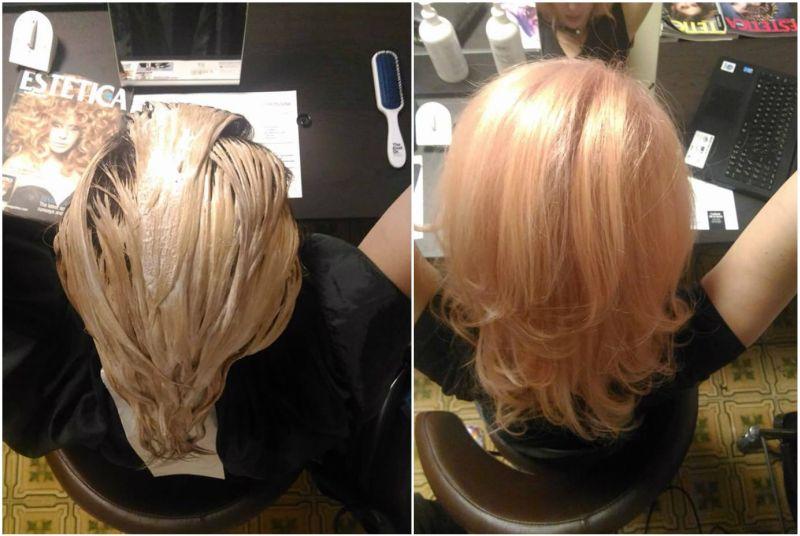 Decolorazione Olaplex capelli rosa