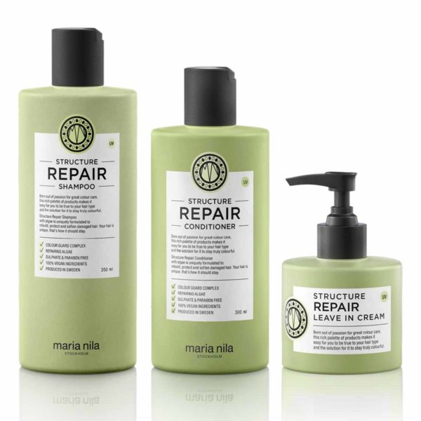 Kit Ricostruzione Maria Nila: Shampoo + Conditioner + Leave In