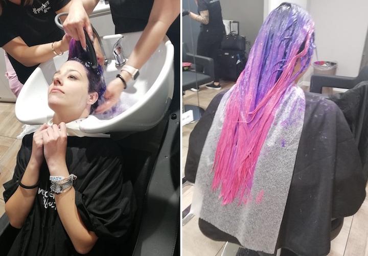 Modella capelli fucsia viola Guy Tang