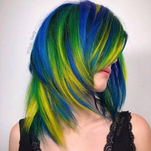 Capelli verdi blu giallo Guy Tang