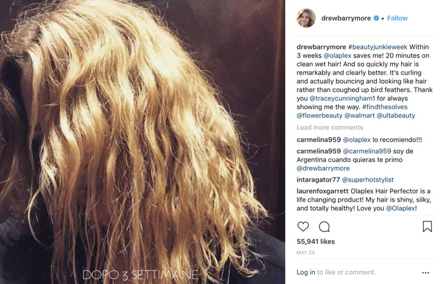 Drew Barrymore capelli dopo Olaplex instagram