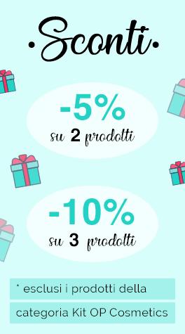 sconto 5% su 2 prodotti, 10% da 3 prodotti in su