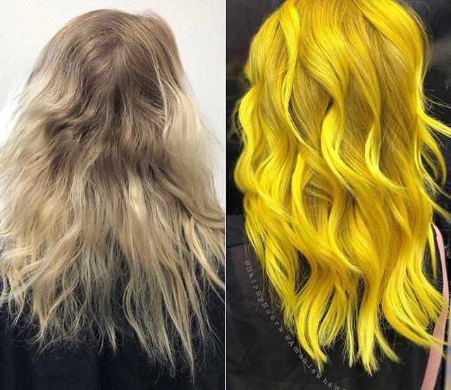 Decolorazione capelli giallo corallo