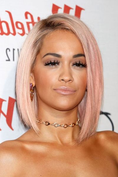 rita ora rose gold hair
