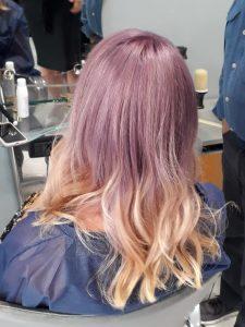 Violet peach balayage
